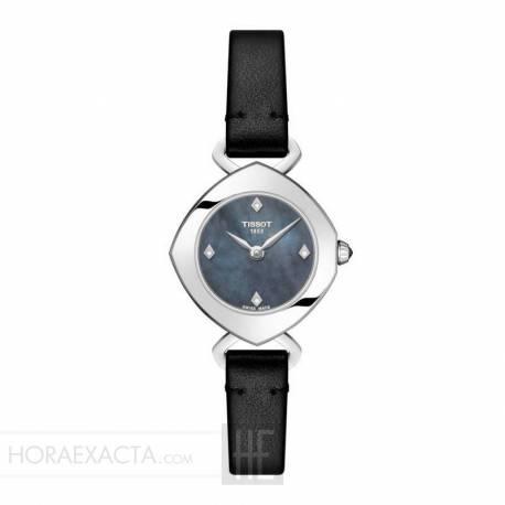Reloj Tissot Femini-T Diamantes Nacar Gris Piel Negra
