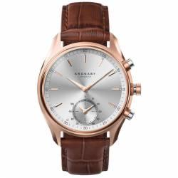 Reloj Kronaby Sekel Blanco Indices PVD Oro Rosa Piel Marrón 43 mm