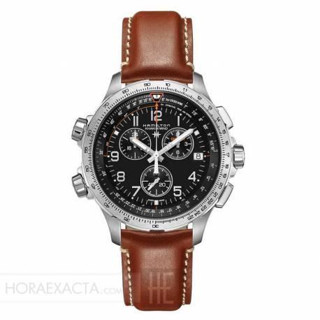 Reloj Hamilton Khaki Aviation X-Wind Cuarzo Chrono GMT Negro Piel Marrón 46 mm.