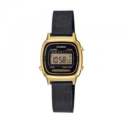 Reloj Casio Collection Digital Pequeño Milanesa Negro Dorado LA670WEMB-1EF