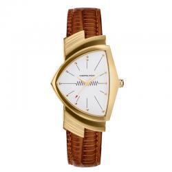 Reloj Hamilton Ventura Cuarzo PVD Oro Amarillo Piel Marrón