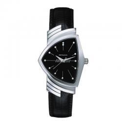 Reloj Hamilton Ventura Cuarzo Acero Negro Piel Negra