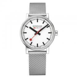 Reloj Mondaine SBB Evo2 Blanco Acero Cristal de Zafiro Milanesa 35 mm.