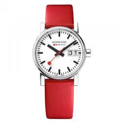 Reloj Mondaine SBB Evo2 Blanco Acero Cristal de Zafiro Piel Rojo 30 mm.