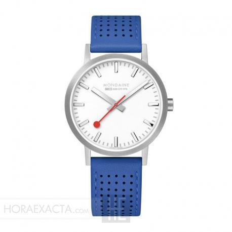 Reloj Mondaine Classic Gris Plata Piel Agujereada Azul 40 mm.