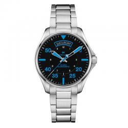 Reloj Hamilton Khaki Pilot Auto Day-Date Air Zermatt Negro Azul Armis 42 mm.