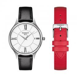 Reloj Tissot Bella Ora Round Blanco Piel Negro/Rojo