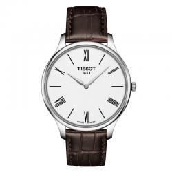 Reloj Tissot Tradition 5.5 Gent Blanco Cuarzo Piel Marrón 39 mm.