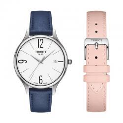 Reloj Tissot Bella Ora Round Blanco Piel Azul/Rosa