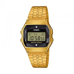 Reloj Casio Collection Digital Armis Dorado Negro Diamantes A159WGED-1EF