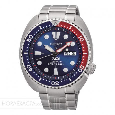 """Reloj Seiko Prospex Diver's PADI """"Tortuga"""" Auto Day Date Azul Bisel Azul/Rojo Armis 44mm. SRPA21K1"""
