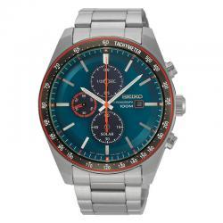 Reloj Seiko Solar Crono Azul Armis Azul y Rojo Taquimetro 43 mm SSC717P1
