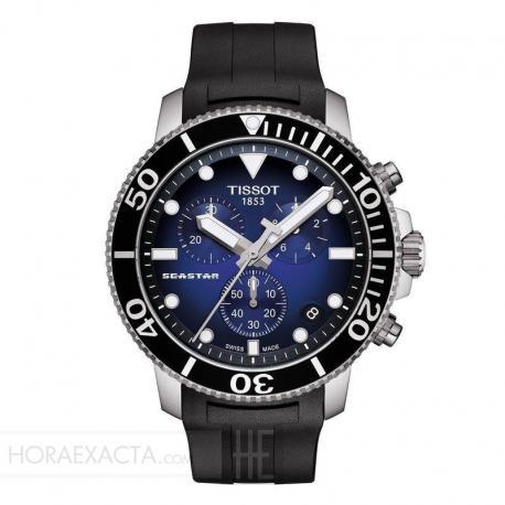 Reloj Tissot Seastar 1000 Chronograph Azul Caucho Negro