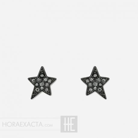 Joyería Karl Lagerfeld. Pendientes Estrella Chapado Negro Swarovsky