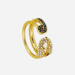 Joyería Karl Lagerfeld. Anillo Imperdible Chapado Oro Amarillo Cristales Blancos y Negros Swarovski®