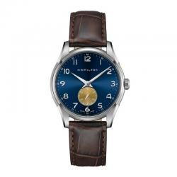 Reloj Hamilton Thinline Small Second Quartz Azul Dorado Piel Marrón H38411540