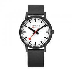 Reloj Mondaine SBB Essence Negro Esfera Blanca 41 mm.
