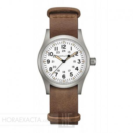 Reloj Hamilton Khaki Field Mechanical Blanco piel marrón 38 mm
