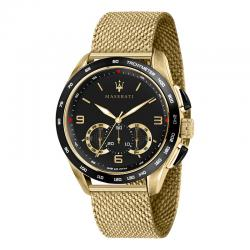 Reloj Maserati Traguardo Cuarzo Negro Chrono PVD Oro Amarillo Milanesa 45 mm.