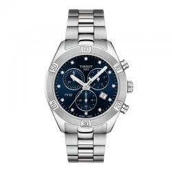 Reloj Tissot PR 100 Lady Sport Chic Chrono Cuarzo Acero azul Diamantes 38 mm.