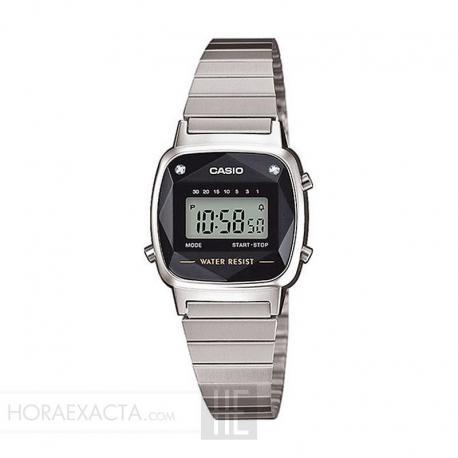 Reloj Casio Collection Digital Pequeño Armis Negro Diamantes LA670WEAD-1ER