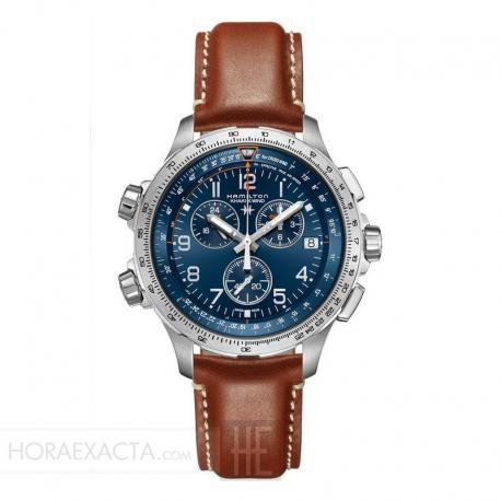 Reloj Hamilton Khaki Aviation X-Wind Cuarzo Chrono GMT Azul Piel Marrón 46 mm.