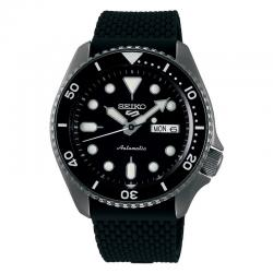 Reloj Seiko 5 Suits Automático PVD Negro Silicona Day Date 42,5 mm. SRPD65K2