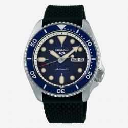 Reloj Seiko 5 Suits Automático Azul Silicona Negra Day Date 42,5 mm. SRPD71K2