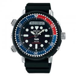 "Reloj Seiko Prospex Solar ""Arnie"" Diver 200 m PADI Negro Azul y Rojo Caucho SNJ027P1"