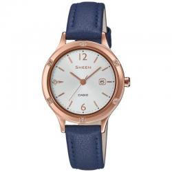 Reloj Casio Sheen PVD Oro Rosa Piel Azul Swarovski 30 mm. SHE-4533PGL-7BUER