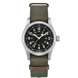 Reloj Hamilton Khaki Field Mechanical negro NATO textil verde 38 mm