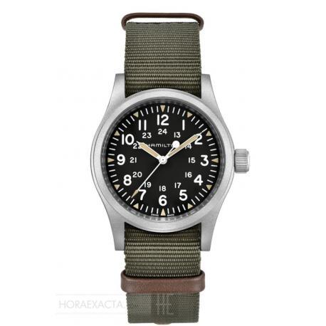 Reloj Hamilton Khaki Field Mechanical negro NATO textil verde 38 mm