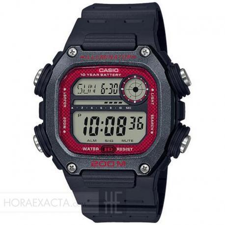 Reloj Casio Collection Digital Negro Rojo Resina Negra DW-291H-1BVEF
