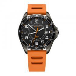 Reloj Victorinox Fieldforce Cuarzo GMT PVD Negro Caucho Naranja 42 mm. V241897