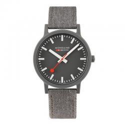 Reloj Mondaine SBB Essence Grís Caja Resina Correa Lona / Cork Lining 41 mm.