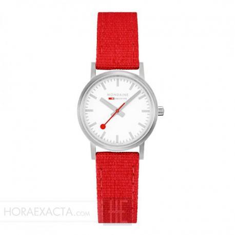 Reloj Mondaine Classic Lady Blanco Acero Textil y Corcho Rojo 30 mm