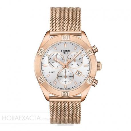 Reloj Tissot PR 100 Lady Sport Chic Chrono Cuarzo PVD Oro Rosa Milanesa 38 mm.