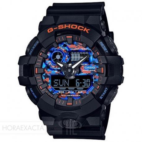 Reloj Casio G-Shock Negro Naranja Azul Analógico Digital GA-700CT-1AER
