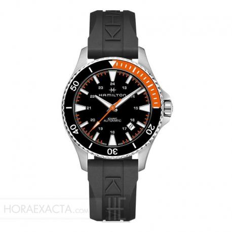 Reloj Hamilton Khaki Navy Scuba Auto Caucho Bisel negro / Naranja 40 mm.