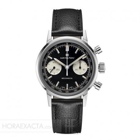 Reloj Hamilton American Classic Intra-Matic Chronograph H. Negro piel.