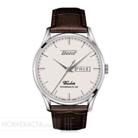 Reloj TISSOT HERITAGE VISODATE POWERMATIC 80 Crema Piel Marrón 42 mm