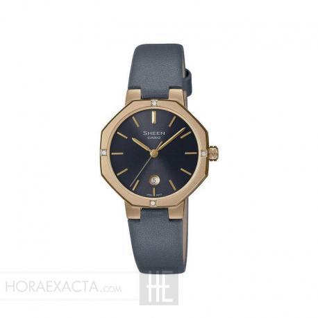 Reloj Casio Sheen PVD Oro Amarillo Piel Negro 33 mm. SHE-4533PGL-7AUER