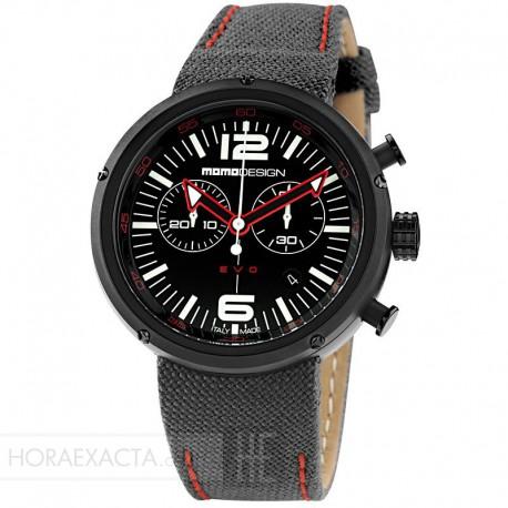 Reloj Momo Design EVO Crono PVD Textil Negro Rojo