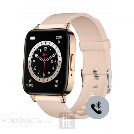 Reloj Duward Smart Rectangular Silicona Crema. Función Teléfono. DSW004.08