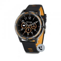 Reloj Duward Smart Redondo Silicona Negra Naranja. Función Teléfono. DSW003.08