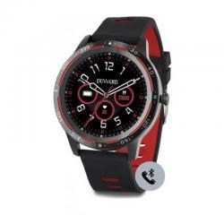 Reloj Duward Smart Redondo Silicona Negra Rojo. Función Teléfono. DSW003.04