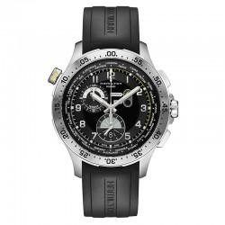 Reloj Hamilton Khaki Aviation Worldtimer Chrono Cuarzo Negro Caucho