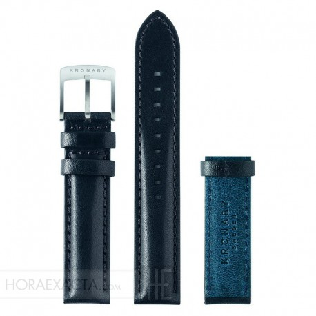 Correa Kronaby Piel Negra Azul 18 mm