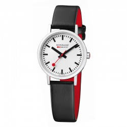 Reloj Mondaine Classic Lady Blanco Piel Negra
