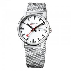 Reloj Mondaine Evo Big Date Blanco Milanesa 40 mm.